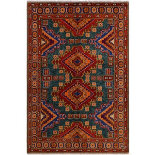 Balouchi Annelies Green/Rust Wool Rug - 5'1 X 6'8 For Sale