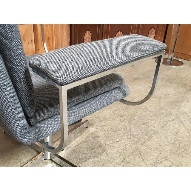 Mid-Century Modern Fortress Blue Upholstered Chrome Swivel Desk Chair - Image 8 of 10