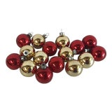 Image of Vintage Red and Gold Glass Holiday Ornament Balls - Set of 16 For Sale