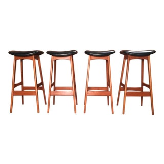 Vintage Mid Century Johannes Andersen Danish Modern Bar Stools- Set of 4 For Sale