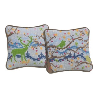Original Mountainscape Hand-Stitched Needlepoint Pillows - a Pair For Sale