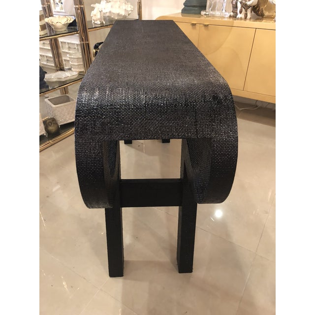 Black Lacquered Grasscloth Scroll Ming Console Table For Sale In West Palm - Image 6 of 14