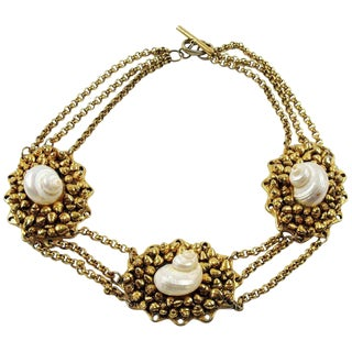 French Fashion Designer Chantal Thomass Paris Signed SeaShell Choker Necklace For Sale