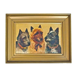Vintage Three Terriers Oil Painting