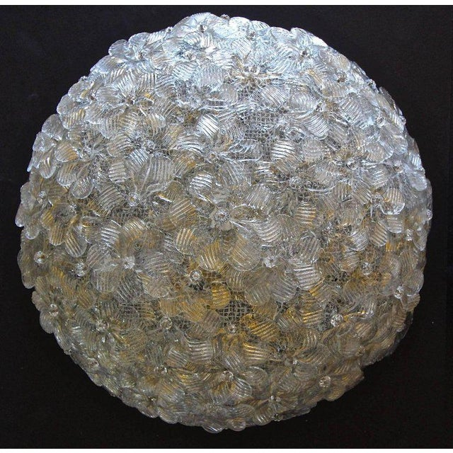 Mid-Century Modern 1970s Murano Glass Floral Pendant Flush Mount Lights - A Pair For Sale - Image 3 of 13