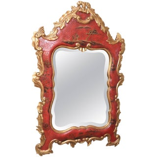 Vintage Red Chinoiserie Gilt and Hand-Painted Mirror, Chippendale Style For Sale