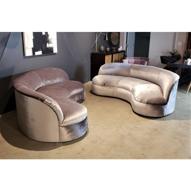 Directional Directional Kagan Style Restored Velvet Biomorphic Curved Sofas For Sale - Image 4 of 11