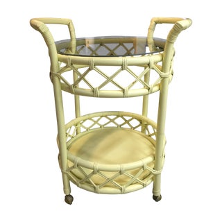 Vintage Cream Rattan Bar Cart For Sale