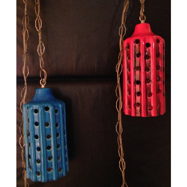 Vintage Pierced Ceramic Pendant Lights - A Pair - Image 2 of 8
