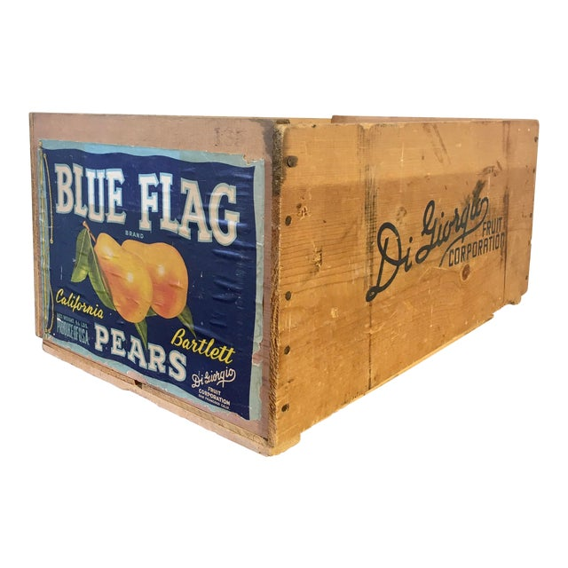 1950s Blue Flag Fruit Crate For Sale