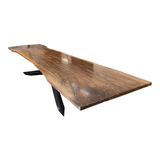 Black Walnut Dining Table With Black Cross Table Base For Sale