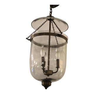Bell Glass Lantern Chandelier Pendant With Bronze Finish For Sale