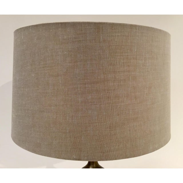 Modern Arteriors Modern Antique Brass Pierce Table Lamp With Shade For Sale - Image 3 of 5