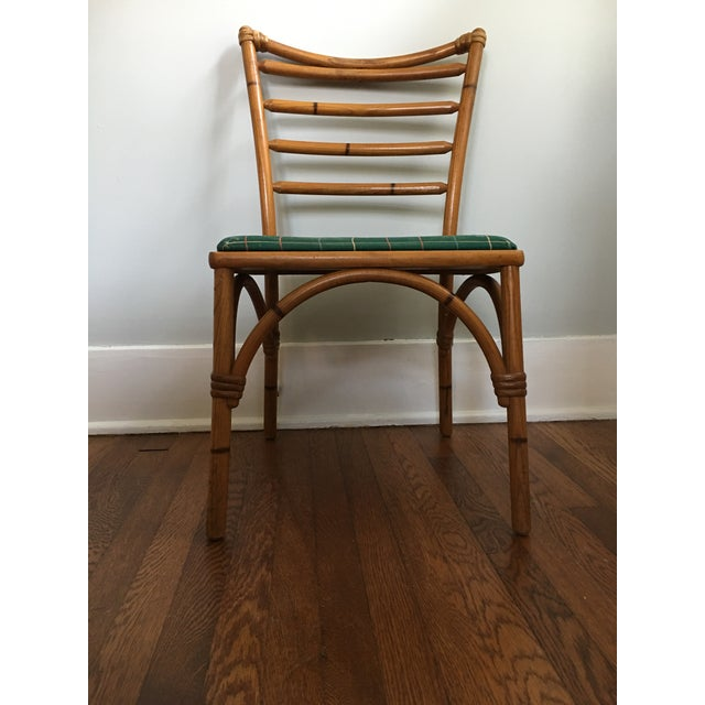 1940s Boho Chic Scorched Bamboo Accent Chair For Sale - Image 9 of 13