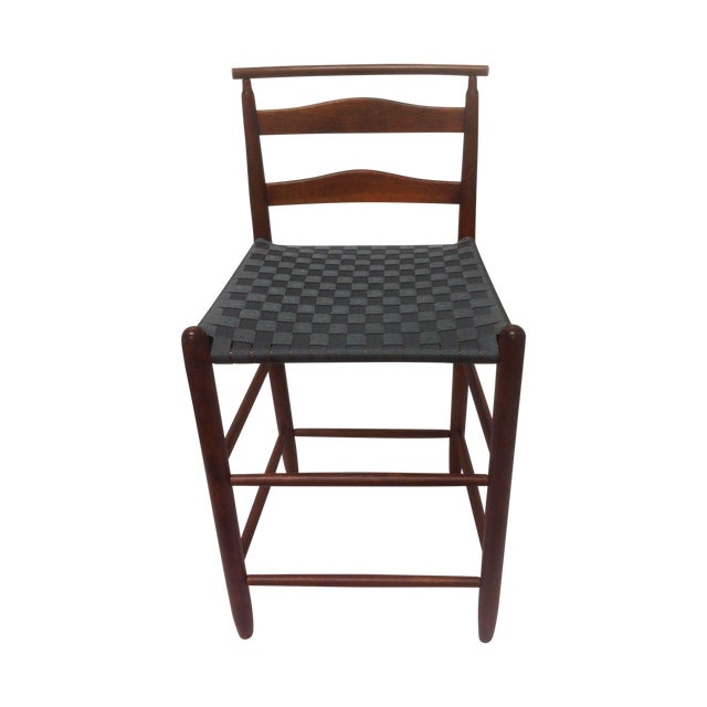 Mid-Century Modern Wood Bar Height Chair For Sale