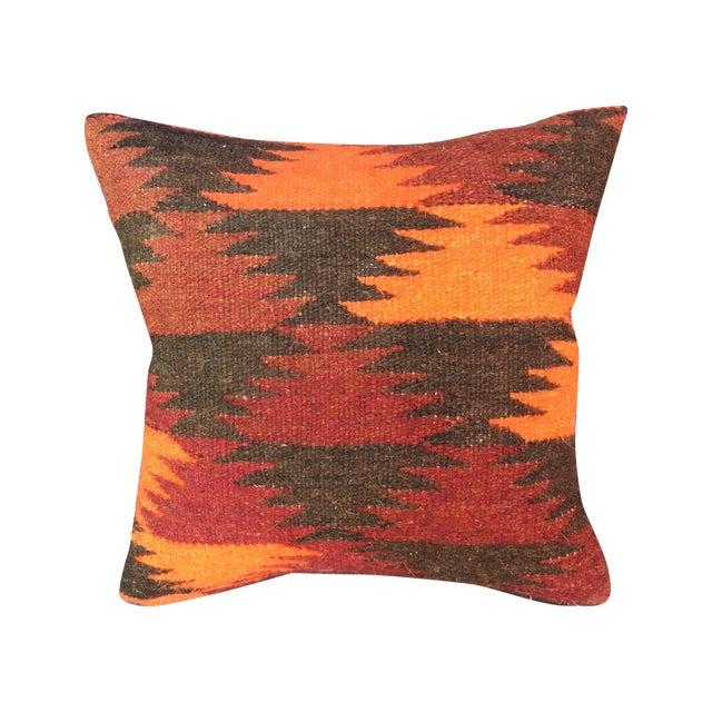 Boho Chic Pillow With Turkish Kilim Fragment - Image 1 of 5