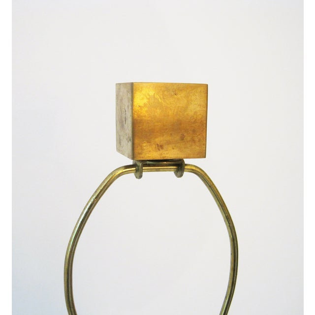 Robert Abbey Square Brass Lamp For Sale In New York - Image 6 of 6