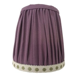 Gathered Lavender Linen Sconce Lamp Shade With Citron Dot Tape Trim For Sale