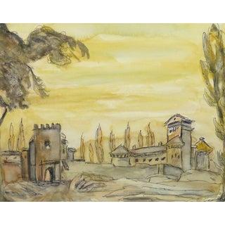Vintage Italian Watercolor & Ink - Italian Castle For Sale