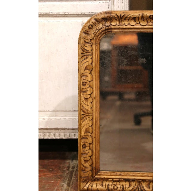 French 19th Century French Louis XIII Carved Bleached Oak Wall Mirror For Sale - Image 3 of 8