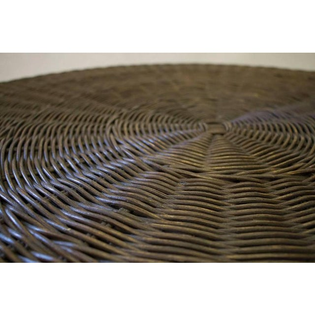 1950s French Rattan Table on Bent Steel Base - Image 3 of 3