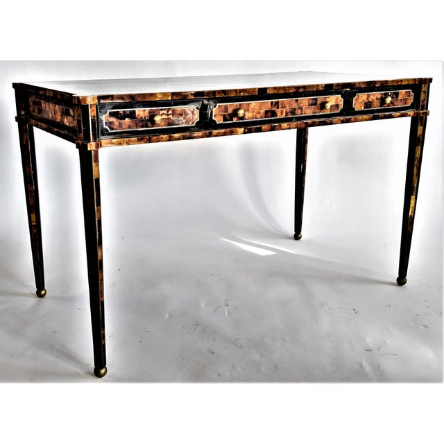 Maitland Smith Tesselated Horn and Brass Writing Partner Desk - Image 11 of 11