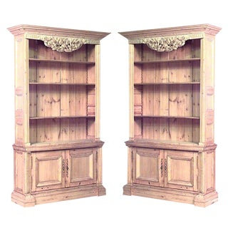 Pair of Turn of the Century English Country Stripped Pine Bookcase Cabinets For Sale