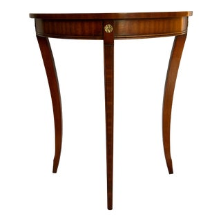 1980s English Traditional Reprodux Mahogany Demi-Lune Table For Sale