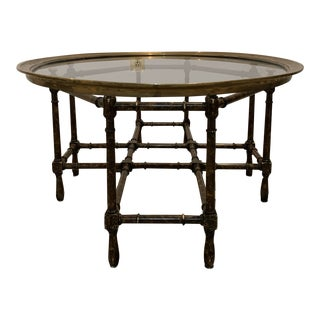 Hollywood Regency Brass and Bamboo Coffee Table For Sale