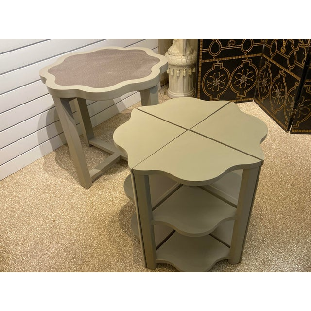 Vanguard Ostrich Leather Inlaid Nesting Tables - 5 Pieces For Sale - Image 12 of 13