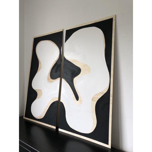 Exposed Birch Wood Abstract Black and White Diptych For Sale - Image 4 of 10