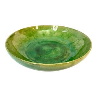 Vintage Biot French Large Green Ceramic Bowl For Sale