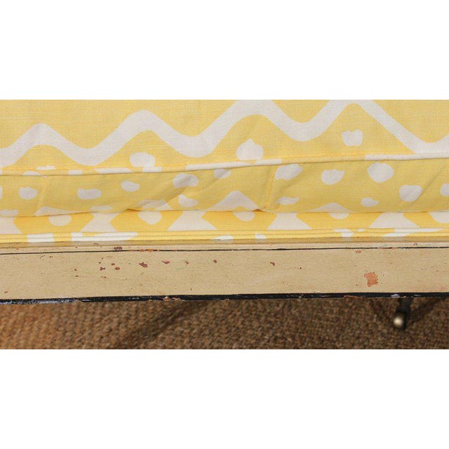 Yellow 19th Century English Upholstered Sofa or Bench For Sale - Image 8 of 9