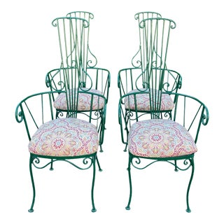 Italian High Back Wrought Iron Chairs/4 For Sale