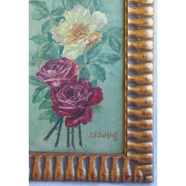 Early 20th Century Antique English Red & Yellow Roses Floral Oil Painting For Sale - Image 5 of 9