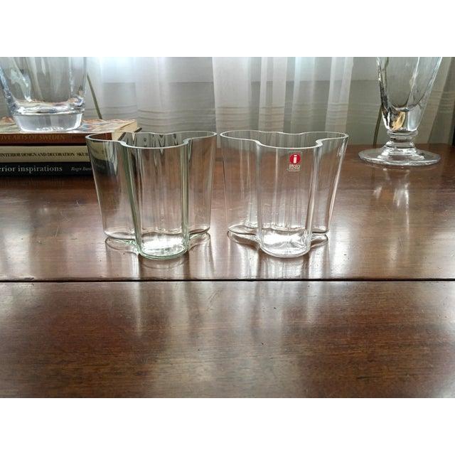 Modern Iittala AlvarAalto Savoy Wave Modernist Vases - a Pair For Sale - Image 3 of 9