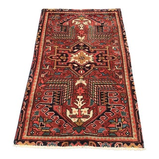 "1960s Persian Heriz Hand Woven Wool Rug - 2'10""x4'8"""