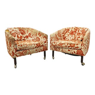 Mid-Century Danish Modern Harvey Probber Barrel Back Lounge Chairs - a Pair For Sale