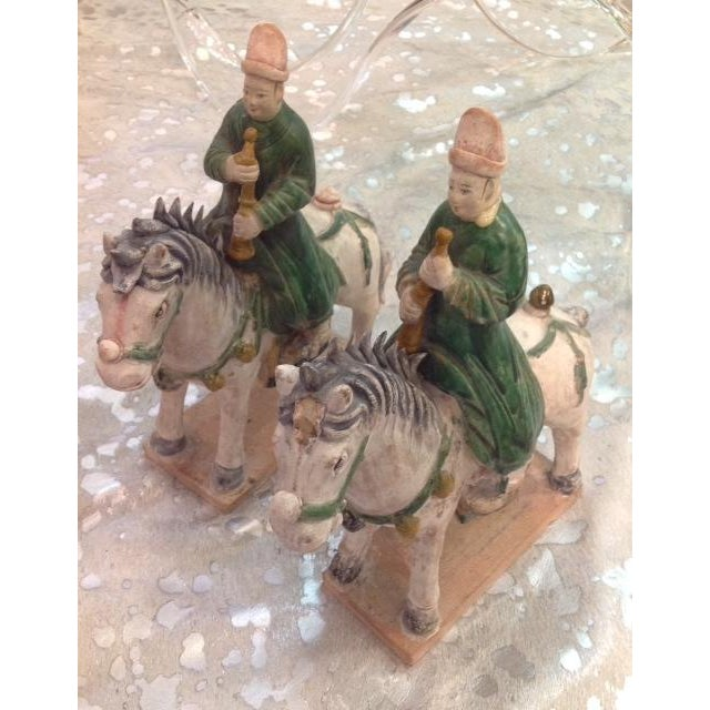 Antique Glazed Pottery Riders - Pair - Image 2 of 5