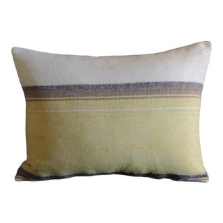 Antique Moroccan Woven Yellow and Brown Stripe Bolster Pillow For Sale