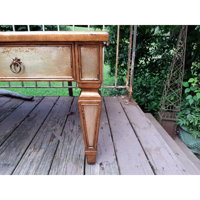 Theodore Alexander Eglomise Gilded Wood and Glass Coffee Table With 3 Drawers and 2 Leather Pull Outs For Sale - Image 9 of 13