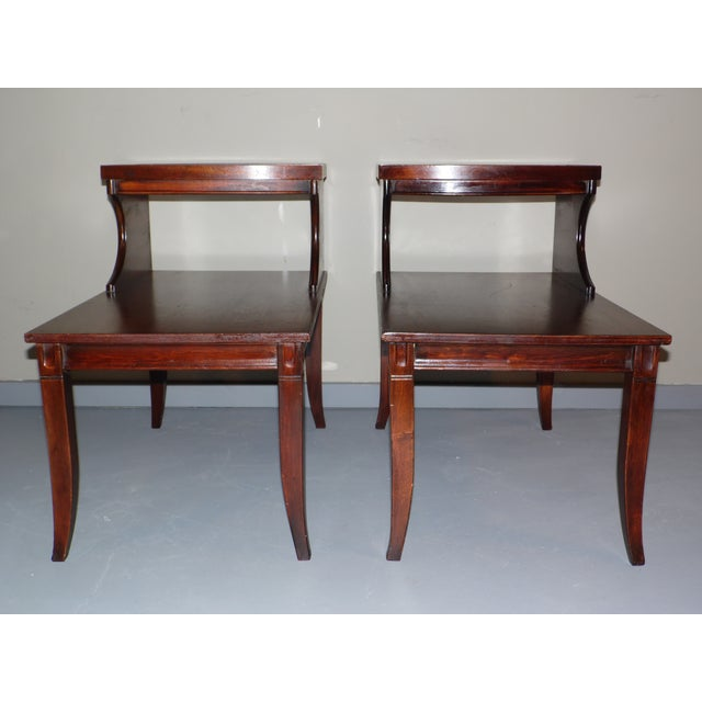 Great Vintage Pair of Step End Tables in the Federal style c.1940's These two tier tables feature beautiful rich mahogany...