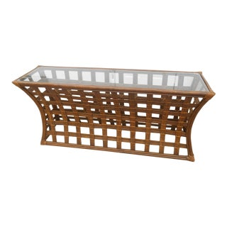 Vintage Hollywood Regency Split Bamboo / Rattan W Glass Top Console / Sofa Table For Sale