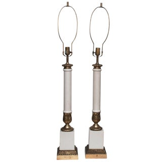 1950s Very Tall Neoclassical Column Lamps - a Pair
