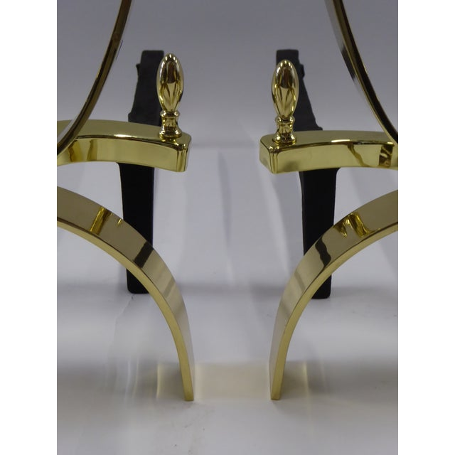 Donald Deskey Modernist Brass Andirons - A Pair For Sale - Image 10 of 11