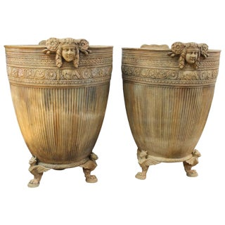 Vintage Italian Beaux-Arts Footed Planters-a Pair For Sale