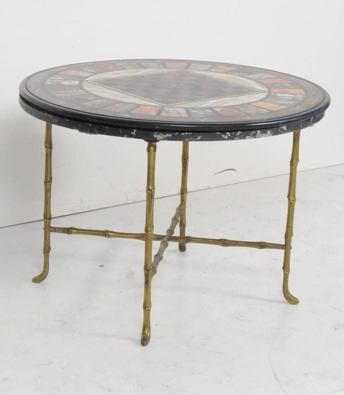 Pietra Dura Faux Bamboo Brass Marble Top Game Table   Image 2 Of 7
