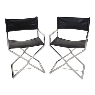 Virtue Brothers Chrome and Black Director Chairs - a Pair For Sale