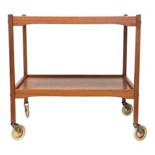 1960's Mid Century Swedish Teak Bar Cart For Sale
