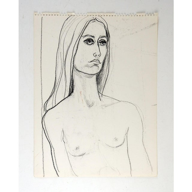 Mid Century Modern charcoal nude study of woman. Unsigned. Unframed, age toning, sketchbook perforations.